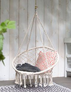 BABYDXY Hammock Chair Macrame Swing, Rope Swing Capacity Hanging Cotton, Perfect Comfortable Sturdy Hanging Chairs for Indoor, Outdoor, Home. Hammock Chair, Swinging Chair, Macrame Hanging Chair, Hanging Chairs, Patio Seating, Seating Areas, Balcony Design, Garden Design, My New Room