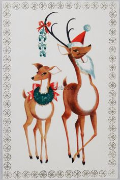 #712 60s WHITE-BOSTON, Reindeer Couple, Deer, Vintage Christmas Card-Greeting