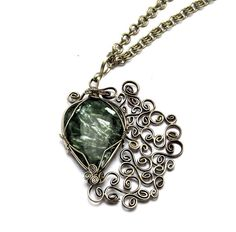 Wire Wrap Art Nouveau Necklace with Seraphinite by Hyppiechic, $85.00