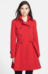 Trina Turk 'Juliette' Double Breasted Skirted Trench Coat (Regular & Petite)