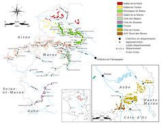 Map of the Champagne region vineyards