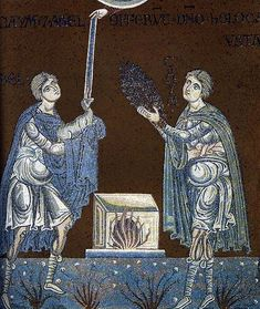 Abel and Cain offer their sacrifice to God Monreale Cathedral, Sicily