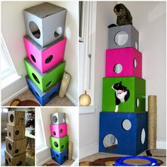 How To Make A DIY Cat Tree Pictures, Photos, and Images for easy diy cat tree - Easy Diy Crafts Diy Projects Shelves, Cat Castle, Diy Cat Tree, Cat Trees Diy Easy, Cat House Diy, Cat Towers, Cats Diy, Cat Room, Pet Furniture