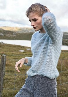 Sandnes garn 1617 lun høst by Strikkehula - issuu Crochet Patron, Knit Crochet, Knitting Designs, Knitting Patterns, Pull Mohair, Warm Outfits, Knitwear, My Design, Street Style