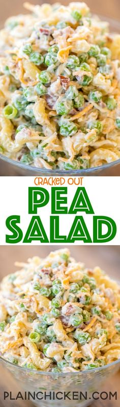 Cracked Out Pea Salad - Macaroni and green peas tossed in mayonnaise, cheddar, bacon and ranch. Seriously delicious!!! Great for potlucks or a side dish with a sandwiches. Great for all your spring and summer cookouts! Can make ahead and refrigerate until ready to serve. It has become our favorite pasta salad recipe!