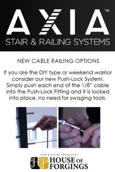 Considering cable railing for your next project? We have a range of options to choose from: Our durable 316 Grade Stainless Steel cable railing and fittings is Railing Design, Stair Railing, Stair Builder, Stainless Steel Cable Railing, Iron Balusters, Staircase Remodel, Modern Stairs, Smooth Lines, Remodeling