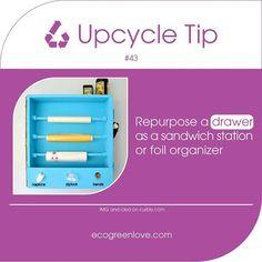 #Upcycling tip 43 #Repurpose a drawer as shelf organizer  - - - #diy #reuse #upcycle #ecotip