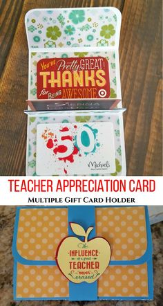 DIY Small Gifts for Teachers!  Pop Up gift card holder and other teacher appreciation ideas!