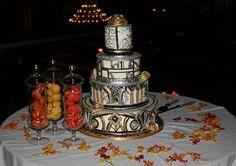 My art deco wedding cake and macaroons - by Cake Divas.