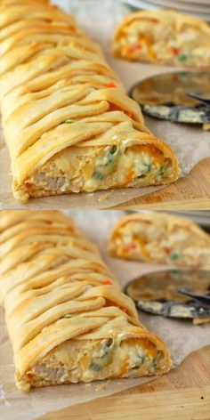 Pot Pie Crescent Braid This delicious and easy dinner is the perfect solution on a busy weeknight. So fast and so delicious!This delicious and easy dinner is the perfect solution on a busy weeknight. So fast and so delicious! Pie Recipes, Cooking Recipes, Stuffed Bread Recipes, Appetizer Recipes, Egg Roll Recipes, Cooking Cake, Cooking Food, Family Recipes, Brunch Recipes