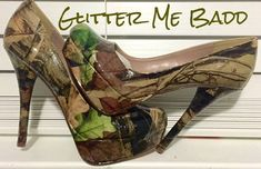 These are REAL TREE camoflouge glossy heel. Handmade so no two are exactly alike. ***PLEASE NOTE THE LAST PICTURE HAS THE VARIETY OF HEEL HEIGHTS. THE HEEL STYLE IN THE PICTURE MAY NOT BE THE EXACT STYLE I USE. I USE A VARIETY OF HEELS FOR MY DESIGNS THAT RANGE FROM 3-5.5. PLEASE