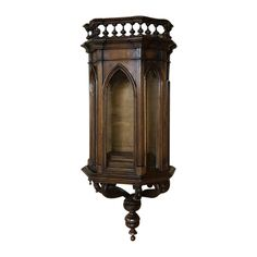 ~ 19th c. French Gothic Wall Vitrine - Curio Cabinet w/ Sconce ~ thehighboy.com