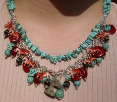 Stampede Knight Horses Turquoise Necklace ooak. $350.00, via Etsy.
