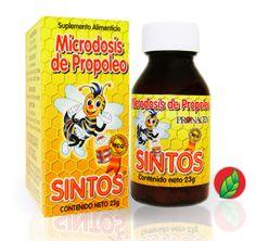 SINTOS® Microdosis de Propóleo. Presentación: frasco con 23g de tabletas (chochos).   SINTOS® microdosis of propolis.  Contains: 23 gr.