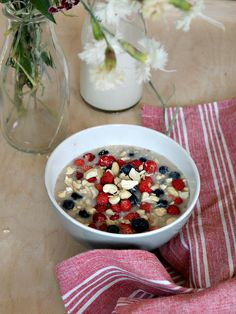 Overnight porridge with wild strawberries and blueberries!