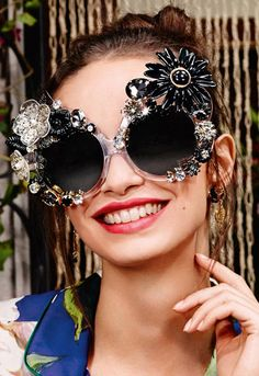 Dolce & Gabbana Floral-Embellished Irregular Mirrored Sunglasses