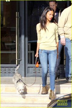 The 35-year-old actress brought along her adorable pup Mugsy, who she adopted a year ago.