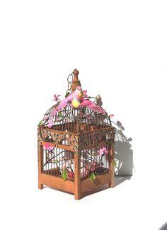 Vintage Birdcage Garden Birdcage Lovebirds by Donellensvintage