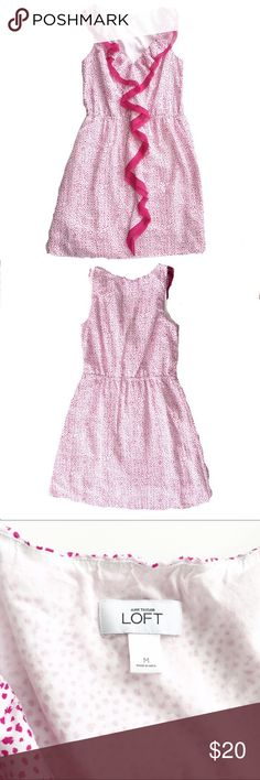 Loft lightweight printed ruffle dress Lovely lightweight pink and white dot printed dress from Loft, size medium. Features contrasting ruffle along neckline and down the front. Excellent condition. LOFT Dresses