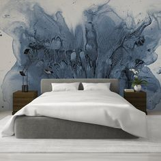 Ink Watercolor Wallpaper, Hand Painted Wall Mural Design, Various Materials Available, Home and Commercial Interior Design Tusche Aquarell Tapete handgemaltes Wandbild Design Commercial Interior Design, Commercial Interiors, Master Bedroom, Bedroom Decor, Watercolor Wallpaper, Watercolor Walls, Wall Wallpaper, Bedroom Wallpaper, Hand Painted Walls