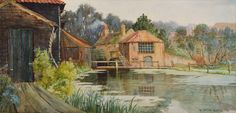One of several watercolours by William Tatton Winter of the snuff mill at Butter Hill, Carshalton. Tatton Winter lived in Carshalton from 1883 until Sutton Surrey, Croydon, South London, Local History, Local Artists, Watercolours, The Locals, Nostalgia, Butter