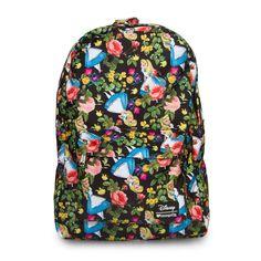 "Disney backpack comes in Alice in Wonderland flower print on printed Nylon material. MEASUREMENTS: W: 11.5"" X H: 17.5"" X D: 5"" Disney Licensed."