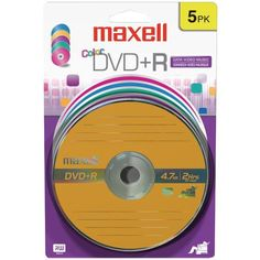 4.7GB DVD+Rs (5 pk; Color Carded) - MAXELL - 639031