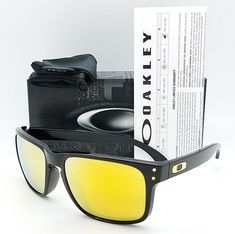77350d08741 NEW Oakley Holbrook sunglasses Polished Black 24K Iridium 9102-E355 gold  GENUINE