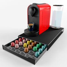 TheCoffeeBox Nespresso Coffee Capsule Holder - Storage Drawer Holds 60 Nespresso Pods