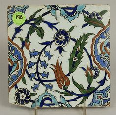Description: UNDERGLAZE PAINTED TILE, Turkey, probably Kutahya, 19th/20th century; with tulips, hyacinths, lilies and medallions; 7 7/8 x 7 7/8 inches  Provenance: The Collection of Theron Johnson Damon and George Huntington Damon .