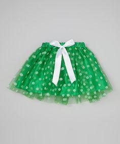 Look at this #zulilyfind! Green Ribbon Polka Dot Tutu - Toddler & Girls by Miss Fancy Pants #zulilyfinds