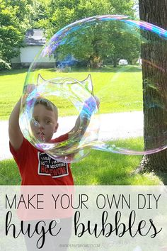 Have Fun This Summer Making Your Own Diy Bubbles. Get Ideas At Big Bubbles Large Bubbles Huge Bubbles Bouncing Bubbles Bubble Snakes Bubble Wands Painting With Bubbles Bubble Recipe Bubble Recipes Big Bubble Wand, Giant Bubble Wands, Bubble Diy, Giant Bubbles, Giant Bubble Recipe, Bubble Activities, Outdoor Activities For Kids, Bubble Games For Kids, Outdoor Learning