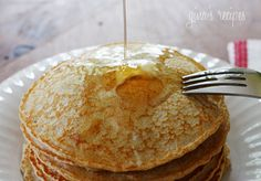 Whole Wheat Pancakes {New and Improved} - Healthy, low-fat, whole wheat pancakes that are light and fluffy! Perfect for Mother's Day Brunch #mom #mothersday