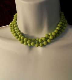 Available now from Orphaned Treasures! Vintage 15 inch Light Green Beaded 3 Strand Choker Necklace | eBay