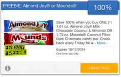 FREE Almond Joy or Mounds Candy Bar courtesy of SavingStar