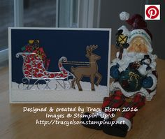 Christmas card created using the Santa's Sleigh Stamp Set and Santa's Sleigh bundle from the Stampin' Up! 2016 Holiday Catalogue. http://tracyelsom.stampinup.net