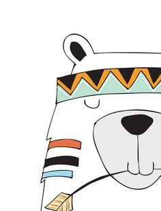 Tribal bear print - Kids room wall art - Tribal bear print - Tribal pattern print - Tribal animal wa Kids Painting Projects, Painting For Kids, Art For Kids, Tribal Bear, Tribal Animals, Cartoon Drawings, Cute Drawings, Mayan Symbols, Viking Symbols