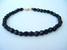 Vintage Black Rhinestone Bead Bracelet Ladies Jewelry Delicate at www.OverMyHead.Etsy.com