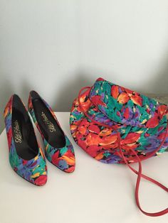 Vintage Floral high heels and matching floral by CongenialVintage