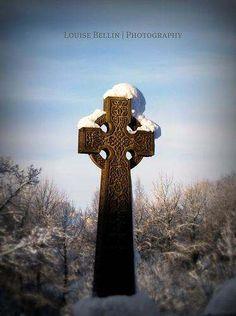 Celtic cross in the snow.
