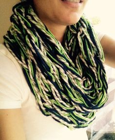 Seattle Seahawks Scarf // Seahawks Infinity Scarf // Blue, Green, Gray and White Arm Knit Infinity Scarf // Hawks Scarf // Bright Green Accent // 12th Man // Russell Wilson // Go Seahawks // Seahawks Accessories and Fashion // NFL Team Apparel // by GreenBayGal on Etsy