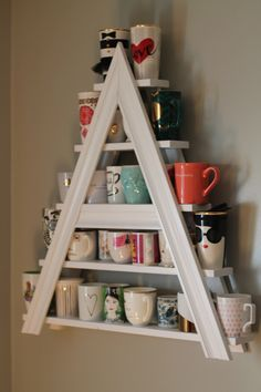 Trophy Wife Must Have!!!! Custom White Wood Painted Mug Rack Letter A or Triangle or Other Letter