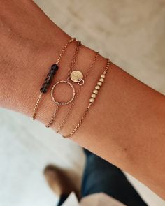 Layer up with our handmade bracelets to style your personal look. Dainty Bracelets, Handmade Bracelets, Mix Match, Bracelet Making, Layers, Gold, Jewelry, Style, Layering