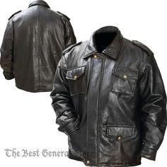 Mens Black Leather Field Jacket Zipper Closure Epaulets 4 Exterior Pockets Lined #GiovanniNavarre #FieldJacket