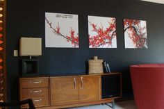 Black paint can turn a problem area into a chic feature wall! Martha Stewart -Silhouette black wall.