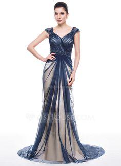 Trompete/Sereia Coração Sweep/Brush trem Tule Vestido de festa com Pregueado Bordado Apliques de Renda Lantejoulas (017056507)