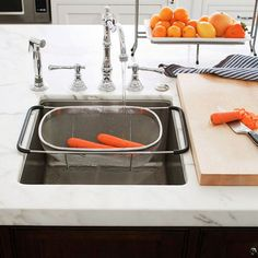 install a prep sink between the refrigerator and the stove so one person can be rinsing and cutting while another is cooking. Dedicate a drawer nearby to knives, Kitchen Cooker, Prep Kitchen, Kitchen Storage, Kitchen Dining, Kitchen Appliances, Kitchen Sinks, Kitchen Ideas, Kitchen Paint, Kitchen Stuff
