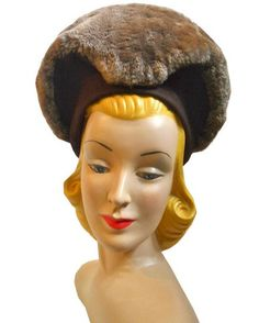 Cocoa Brown Tall Brim Hat with Faux Fur Trim circa 1940s - Dorothea's Closet Vintage