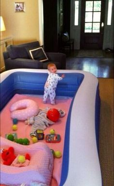 instead of a plastic small play pin- use a blow up kiddie pool for the baby