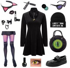 Outfit inspiration... Get it all from our webstore ATTITUDECLOTHING.CO.UK | We ship worldwide #outfit #outfitideas #outfitinspiration #blackcat #cat #cateye #eye #kitty #witch #alternativefashion #alternativeclothing #gothfashion #gothicclothing #darkfashion #gothic #goth #nugoth #pastelgoth #killstar #kreepsville666 #tukshoes #rogueandwolf #manicpanic #stargazer #concreteminerals #AttitudeClothing